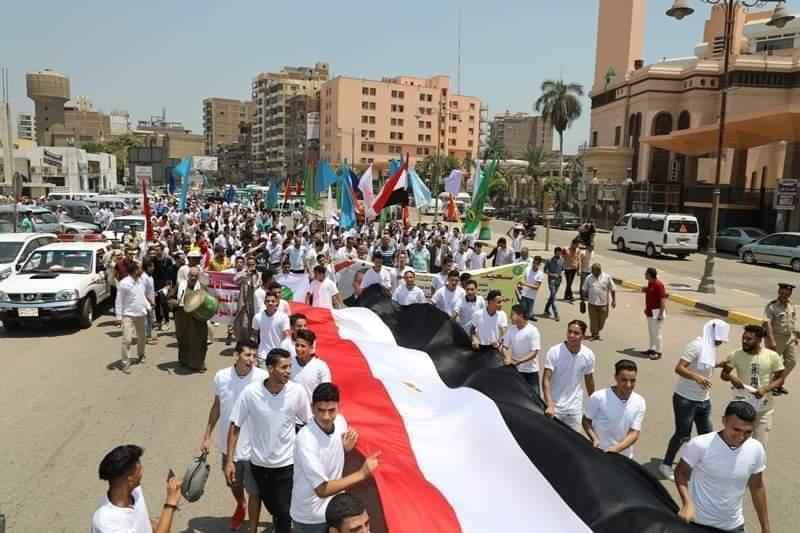 : محافظ المنوفية يتقدم المسيرة الشبابية إحتفالاً بالعيد القومى للمحافظة