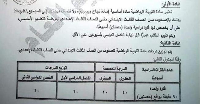 التعليم تصدر قرارا باعتبار التربية الرياضية مادة نجاح ورسوب من ٤٠ درجة قرار ٣١١ لسنة ٢٠١٩