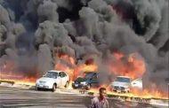 إندلاع حريق هائل بخط المازوت بطريق مصر الإسماعيلية الصحراوي