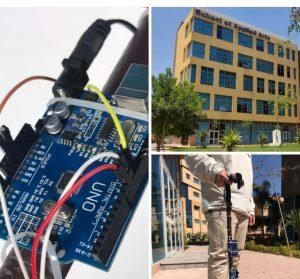 طالب الفنون التطبيقية بجامعة بدر يبتكر عصا ذكية للمكفوفين للتجول فى الأماكن العامة بأمان.. بالصور