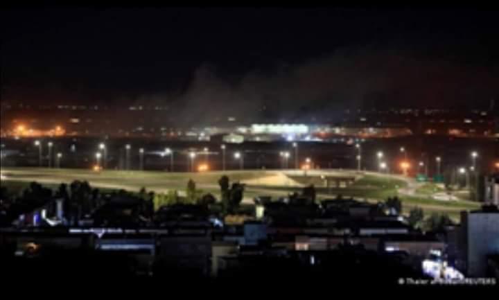 هجوم صاروخى على قاعدة عسكرية بها قوات أمريكية بكردستان العراق. وبقايا الصواريخ بشوارع مدينة أربيل بالعراق