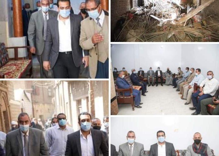 نائب محافظ قنا يقدم واجب العزاء لاسرة المنزل المنهار بابوتشت