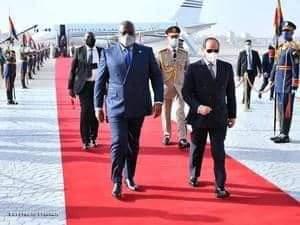 الرئيس عبد الفتاح السيسي لدى استقباله الرئيس الكونغولي
