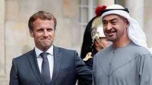 الشيخ محمد بن زايد مع الرئيس الفرنسي ماكرون لبحث التعاون بين البلدين